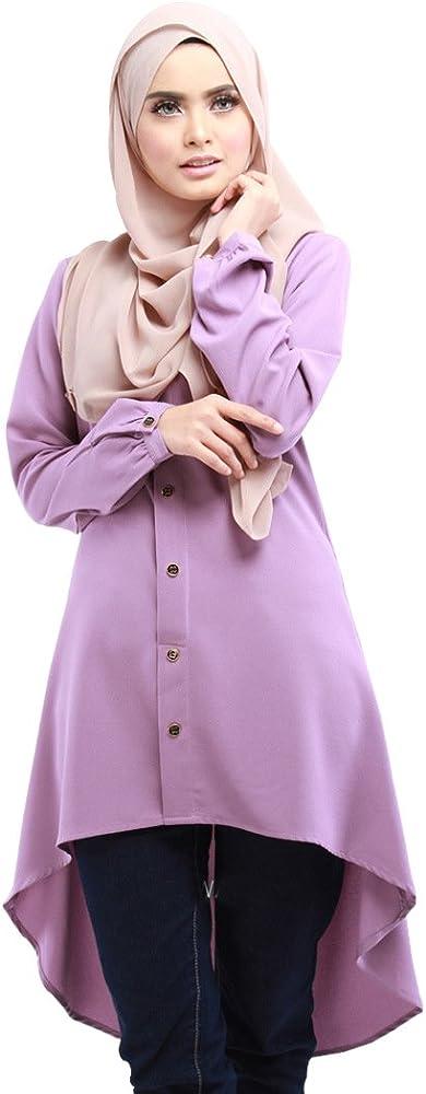 BOZEVON Mujeres Moda Hermoso Largo Camisa Vestido de Musulmán Árabe Túnica Manga Larga Largos Maxi Caftán Vestidos, 4 Colores: Amazon.es: Ropa y accesorios