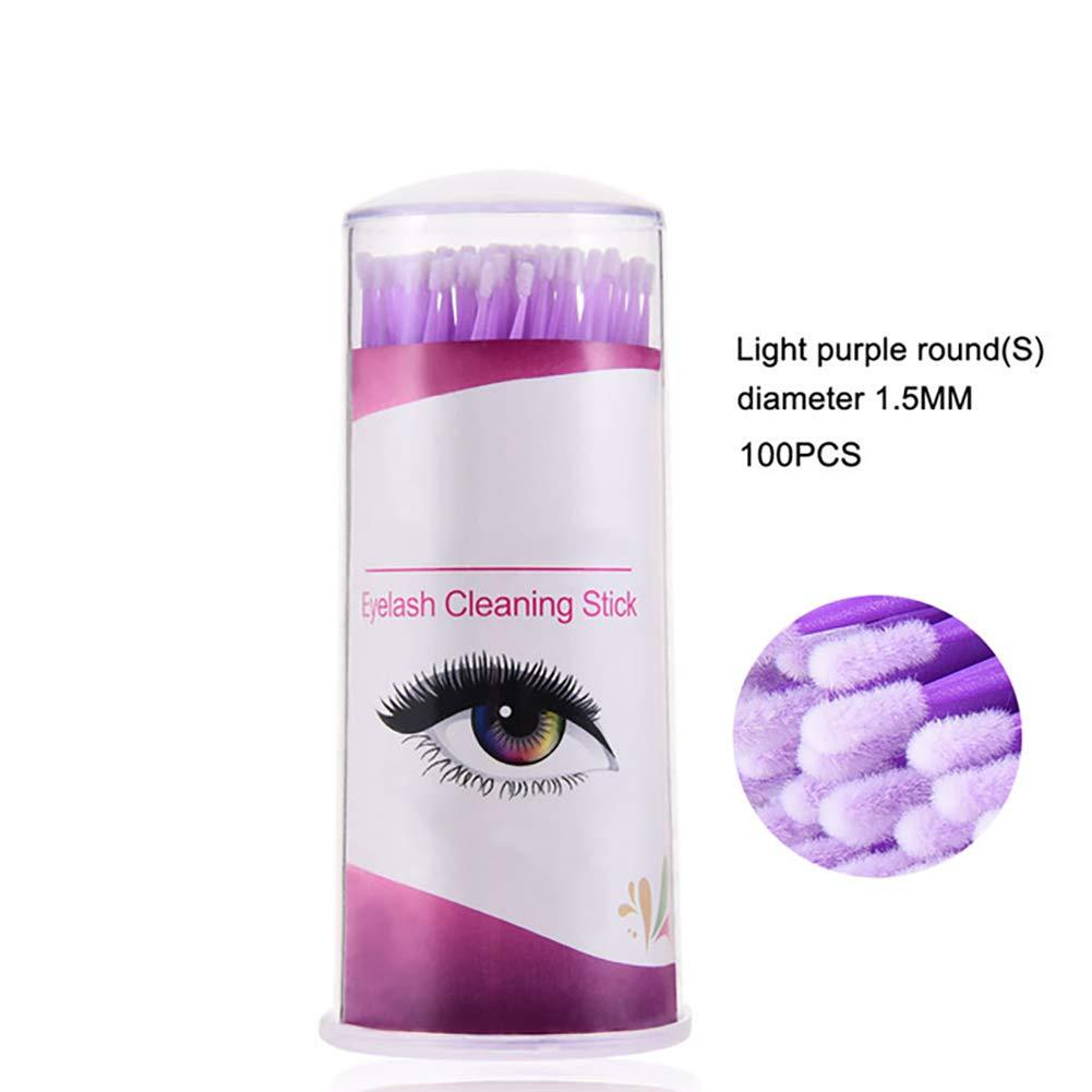 Beito 100Pcs/Box Micro Brush For Eyelash Extension Lint Free Microbrush Disposable Micro Fiber Wands Eyelash Cleansing Applicator(Purple,S)