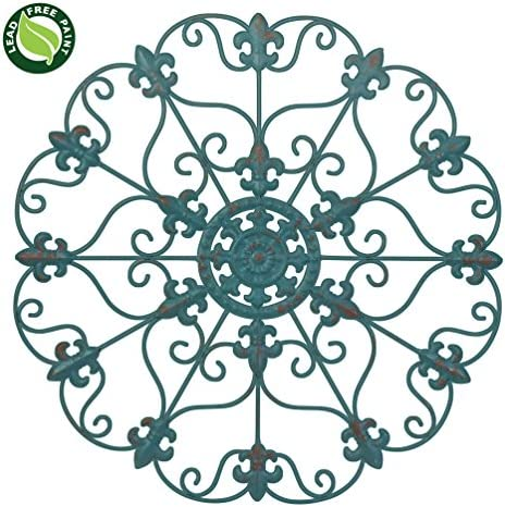 SALE 16 Hand Made Iron Wall Medallion, Home, Room Decoration Home Decor 100 Lead Free Paint, Teal Color. Gift yourself or a LOVED one