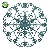 NEW! 24″ Hand Made Iron Wall Medallion, Home, Room Decoration, Home Decor 100% Lead Free Paint, Teal Color For Sale