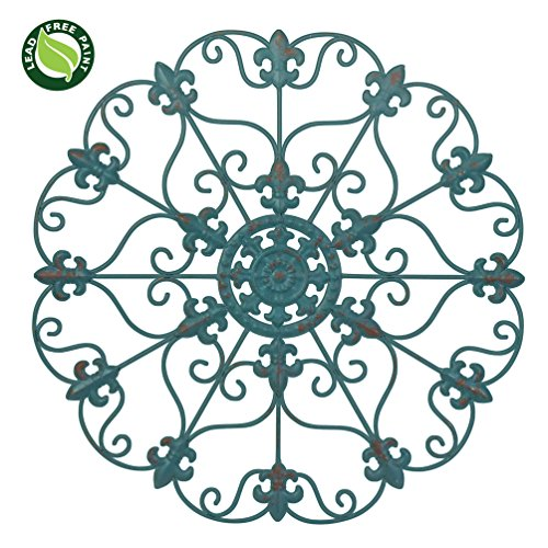 "SALE! 16"" Hand Made Iron Wall Medallion, Home, Room Decoration Home Decor 100% Lead Free Paint, Teal Color. Gift yourself or a LOVED one!"