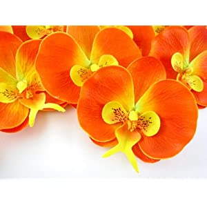 "(50) Orange Phalaenopsis Orchid Silk Flower Heads - 3.75"" - Artificial Flowers Heads Fabric Floral Supplies Wholesale Lot for Wedding Flowers Accessories Make Bridal Hair Clips Headbands Dress 72"