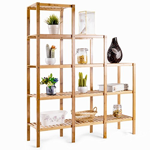 Costway 5-Tier Bamboo Shelf Multifunctional Customizable Utility Bathroom Plant Display Stand Storage Rack (9-Pots)