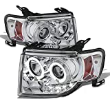 ford escape led - Ford Escape Chrome Clear Dual Halo Ring LED Design Halogen Type Projector Headlights Front Lamps