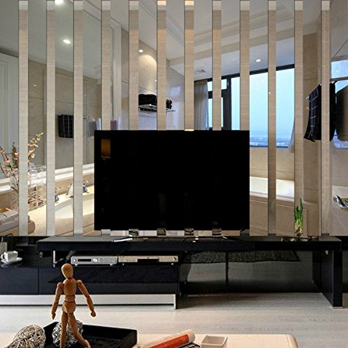 Border Stick On - Yanqiao 10x38cmx10pcs 3D Long Rectangle Acrylic Mirrors Wall Stickers TV Background Living Room Bedroom Home Decoration Wall Border Decal,Silver