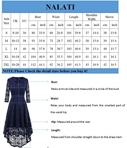 Robe en Fonc Femme Robe Taille Dentelle NALATI en 4 Manches Haut de Bleu 3 de V Col Cocktail Manches Longues Soire Vintage vCAw1wxqU