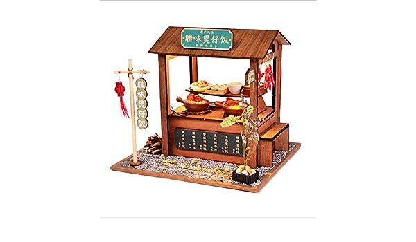 Rompecabezas de madera de bricolaje, muebles de casa de muñecas, modelo de casa pequeña, muebles creativos artesanía rompecabezas educativo juego de regalo conjunto cordero almeja arroz: Amazon.es: Hogar