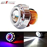 AllExtreme Projector Lamp High Intensity Led headlight Stylish Dual Ring COB LED Inside Double Angel's eye Ring ( Red & Blue) Lens Projector For - All Bikes
