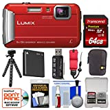 Cheap Panasonic Lumix DMC-TS30 Tough Shock & Waterproof Digital Camera (Red) with 64GB Card + Case + Battery + Flex Tripod + Float Strap + Kit