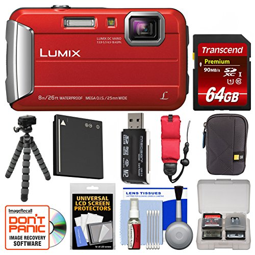 Panasonic Lumix DMC-TS30 Tough Shock & Waterproof Digital Camera (Red) with 64GB Card + Case + Battery + Flex Tripod + Float Strap + Kit
