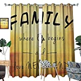 inspiring modern closet design Family Thermal Insulating Blackout Curtain Inspiring Message About Family Life and Love on Dreamy Backdrop Wisdom Patterned Drape for Glass Door W96 x L84 Yellow Marigold Black