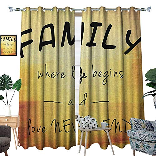 Family Thermal Insulating Blackout Curtain Inspiring Message About Family Life and Love on Dreamy Backdrop Wisdom Patterned Drape for Glass Door W96 x L84 Yellow Marigold Black