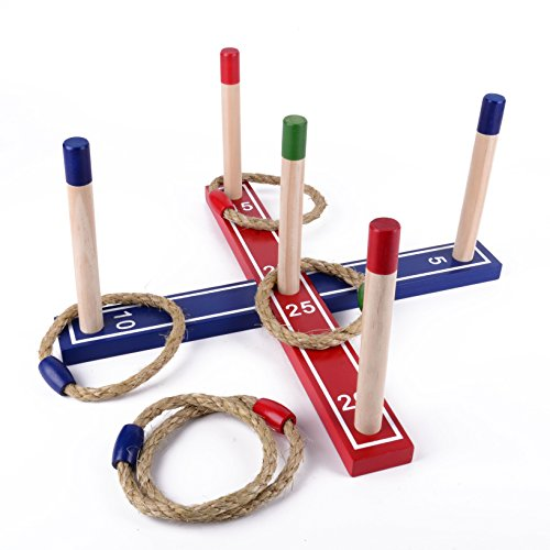 SPORT BEATS Premium Wooden Loop & Hoop Ring Toss Game, Kids and Adults Games With 5 Quoits Rope
