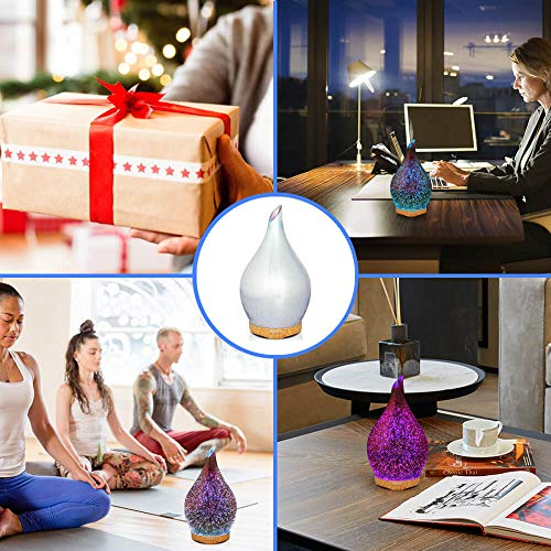 280ml Essential Oil Diffuser 3D Glass Aromatherapy Ultrasonic Humidifier - 7 Color Changing LEDs, Waterless Auto-Off,Timer Setting, BPA Free for Home Hotel Yoga Leisure SPA Gift by MELLER (Image #5)