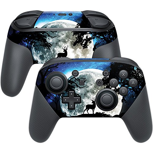 MightySkins Skin for Nintendo Switch Pro Controller - Moonlight Deer | Protective, Durable, and Unique Vinyl Decal wrap Cover | Easy to Apply, Remove, and Change Styles | Made in The USA