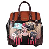 Nicole Lee Women's Exclusive Hollywood Print Rolling Business Laptop Compartment Travel Tote, Hollywood Star, One Size