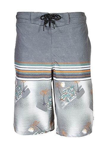 TONY HAWK Boys' Big Striped Print Board Short Swim Trunk, Grey, 14/16 ()