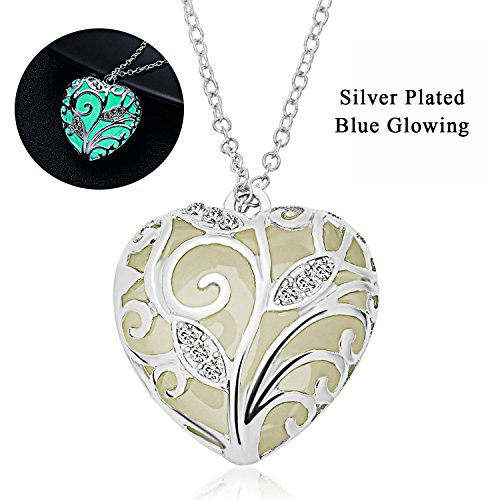 RINHOO Glow in The Dark Heart Charm Pendant Ladies Jewelry(Blue)