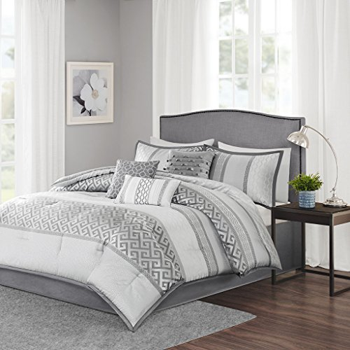 7 Piece Faux Silk (Madison Park Bennett Queen Size Bed Comforter Set Bed In A Bag - Grey, Jacquard Geometric – 7 Pieces Bedding Sets – Faux Silk Bedroom Comforters)