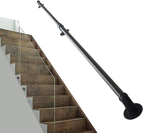 Rampe de Rampe descalier Rampes de terrasse pour int/érieur et ext/érieur Noir LHNLY-Mains courantes Main Courante pour escalier avec kit Complet Balustrade du Couloir dacc/ès aux canaux