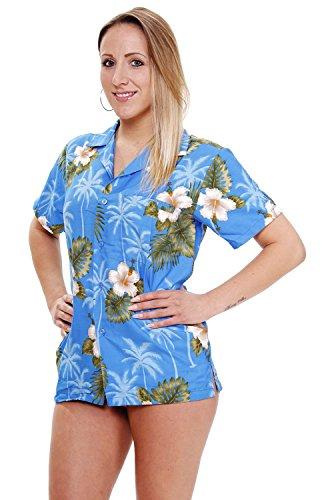 Funky Hawaiian Blouse, Smallflower, lightblue, S - Tourist Costume