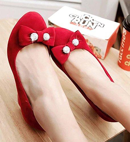 Easemax Femme Douce Perlée Bout Rond Slip Sur Mi Chunky Talon Pompes Chaussures Avec Des Arcs Rouge