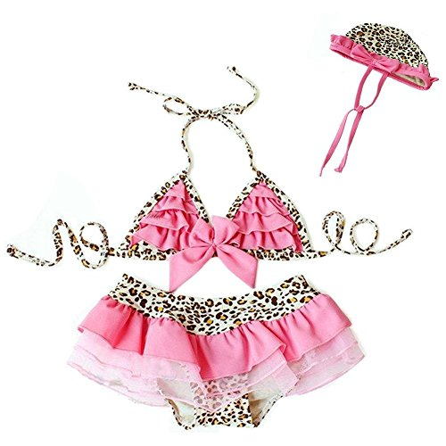 StylesILove Beach Baby Pinky Leopard Ruffled 3-pc Swimsuit Set (2-3 (Ruffled Leopard)