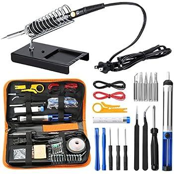 URCERI Soldering Iron Kit Electronics 26-in-1, 60W Adjustable Temperature Welding Tool, 6 pcs Soldering Tips with Desoldering Pump, Soldering IronStand, ...