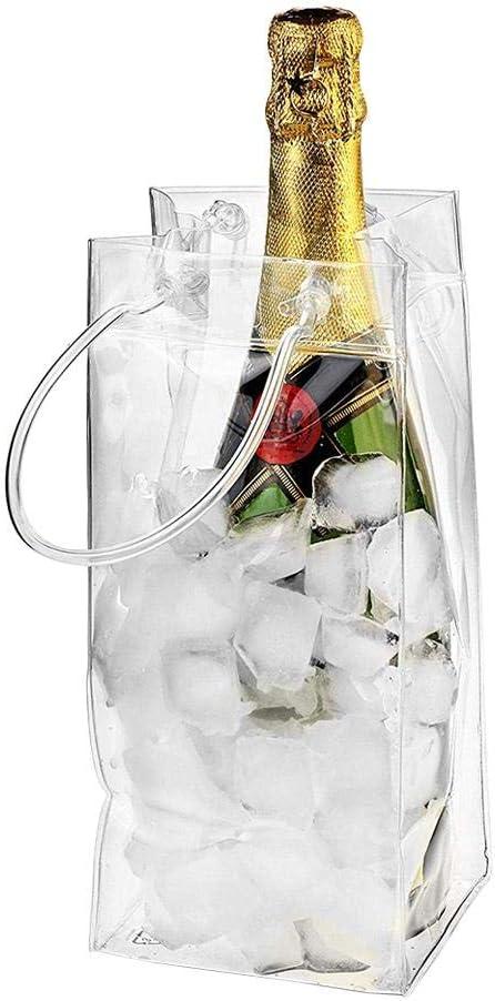 Goodevening Bolso De Hielo Bolsa De Hielo Transparente, PVC Champagne Bolsa De Hielo 25 11 CM Bolsa De Refrigerador con Pubs Y Restaurantes Botella De Hielo Portátil Vino