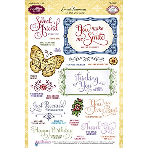 JustRite 36-Piece Papercraft Clear Stamp Set, 6 by 8-Inch...