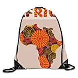 AFRICA Sackpack Drawstring Backpack Waterproof Gymsack Daypack For Men Women