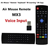 Air Mouse with Voice Input, HOTSO 2.4GHz Fly Mouse USB Android TV Control Wireless Keyboard, 42 Keys Infrared Learning with Mic Voice Input for Android TV Box, Mini PC, Mac OS, Google By Dupad Story,