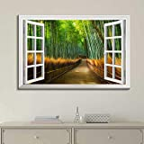 """good looking bamboo wall mural Canvas Prints Wall Art - Modern White Window Looking Out Into a Road with Bamboo Trees on The Side - Canvas Art Home Decor - 12"""" x 16"""" inches"""