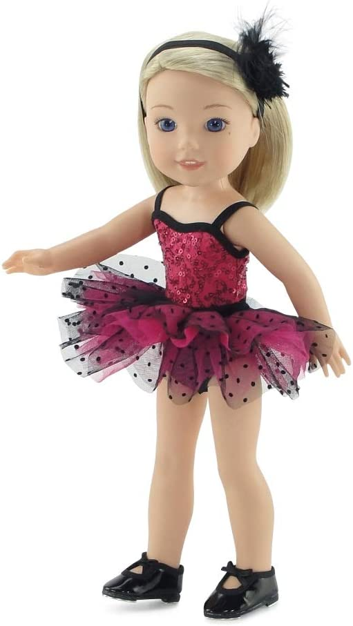 """Swimsuit for 14/"""" Wellie Wishers Doll Clothes by TKCT neon gold metallic"""