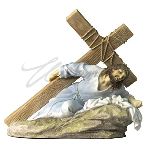 Jesus Christ on the Ground Carrying the Crucifix Light Color Polystone Statue Figurine (Jesus Christ Carrying Cross)