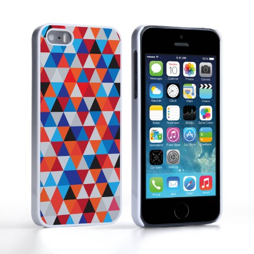 Caseflex iPhone 5 / 5S Case Blue / Orange Geometric Triangles Pattern Hard Cover