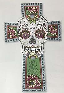 "Dia de los Muertos (Day of the Dead) 19"" Sugar Skull Cross Hanging Wall Art"