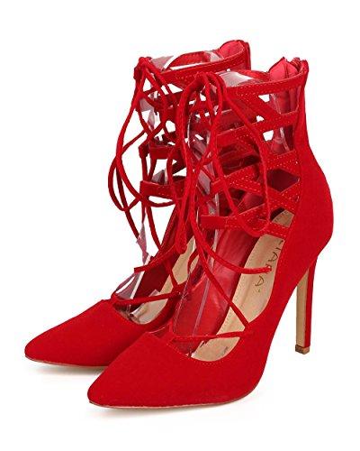 Bombas De Vestir Con Cordones Para Mujer Liliana Selina-6 Rojas