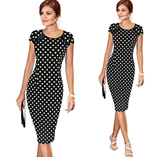 [Hot Sale !Pencil Mini Dress,BeautyVan Fashion Charming Waist design Thin Women Bandage Short Sleeve Party Sexy Cocktail Pencil Mini Dress,Multiple Colors Available (XL, Black] (Masquerade Dresses For Sale)