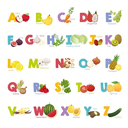 Decowall DS-8031 Fruit and Vegetable Alphabet Kids Wall Stickers Wall Decals Peel and Stick Removable Wall Stickers for Kids Nursery Bedroom Living Room (Small)