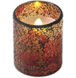 "4"" Decorative Autumn Glass Mosaic Wax Flameless LED Lighted Pillar Candle"