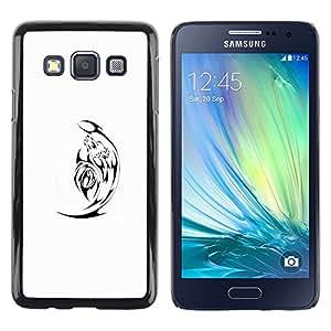 Caucho caso de Shell duro de la cubierta de accesorios de protección BY RAYDREAMMM - Samsung Galaxy A3 SM-A300 - Black Minimalist White Satan