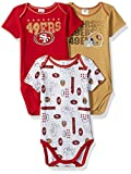 NFL San Francisco 49Ers Unisex-Baby 3-Pack Short Sleeve Bodysuits, Red, 0-3 Months