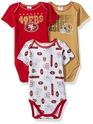 Francisco Boys Apparel 49ers San - NFL San Francisco 49Ers Unisex-Baby 3-Pack Short Sleeve Bodysuits, Red, 3-6 Months