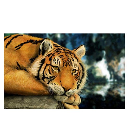 Price comparison product image 5D Diamond Painting,  callm Hot Sale DIY Cross Stitch Kit Animals Diamond Embroidery Painting Drill Arts Craft Supply for Home Wall Decor (Tiger)