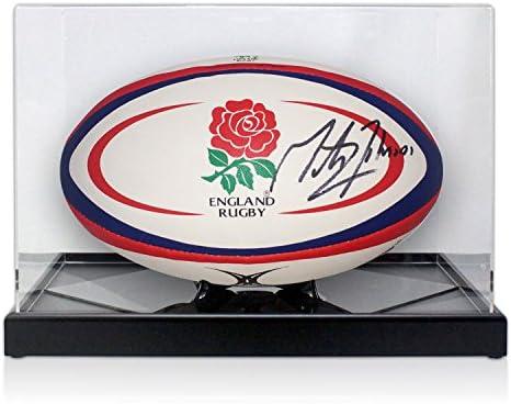 Martin Johnson firmó Inglaterra Pelota de rugby en la exhibición ...