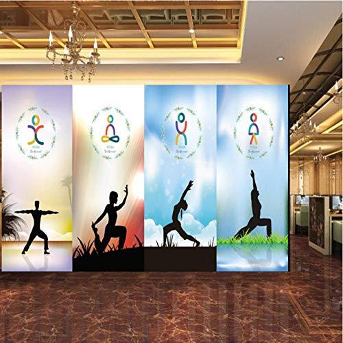 Pbldb Custom Photo Wallpaper Aesthetic Yoga Silhouette Wall Chart Backdrop Wall Murals Health Club Decoration Wallpaper-250X175Cm