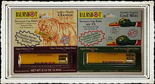 BALMSHOT Lip Balm Two Pack of Classic & Cool Mint