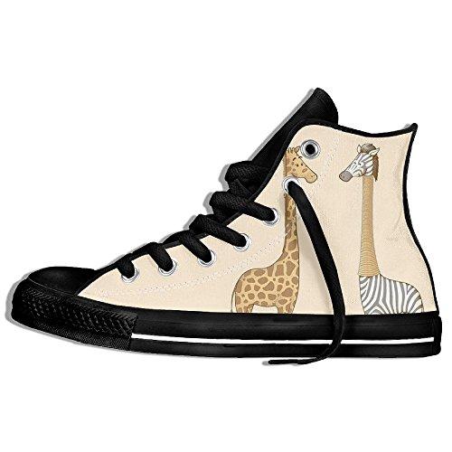 Classiche Sneakers Alte Scarpe Di Tela Anti-skid Divertenti Giraffe Casual Da Passeggio Per Uomo Donna Nero