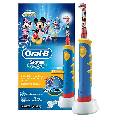 Oral-B Stages Power Kids Advanced Elektrische Zahnbürste mit Disneys Micky Maus (elektrische Kinderzahnbürste, mit Timer, mit Disney-Figuren, Aufsteckbürste für Kinder, powered by Braun)